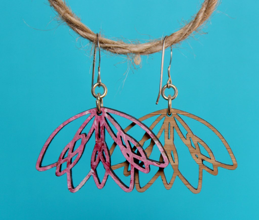 Melanie Lynn Design 10 - Unique Wooden Jewelry - Pink Lotus Earrings