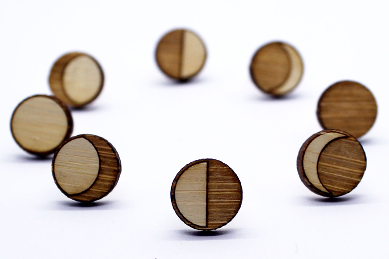 Melanie Lynn Design 9 - Unique Wooden Jewelry - Moon Phases