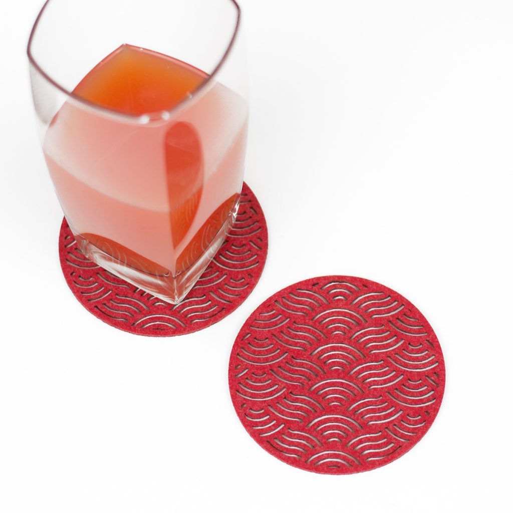 Synthetic Felt 1 - Red Coasters