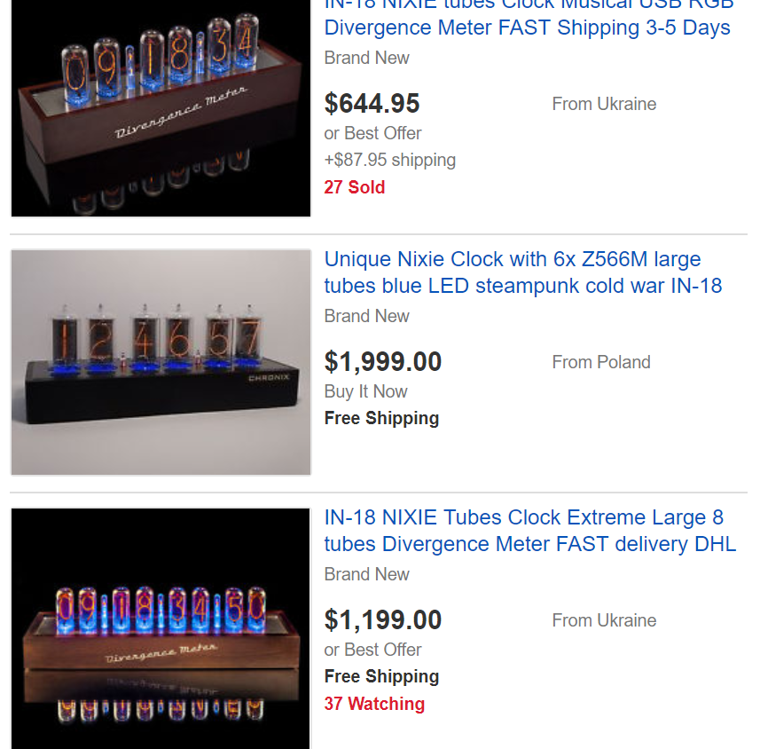 Lixie Labs LED Nixie Clock 7 - Pricing Examples