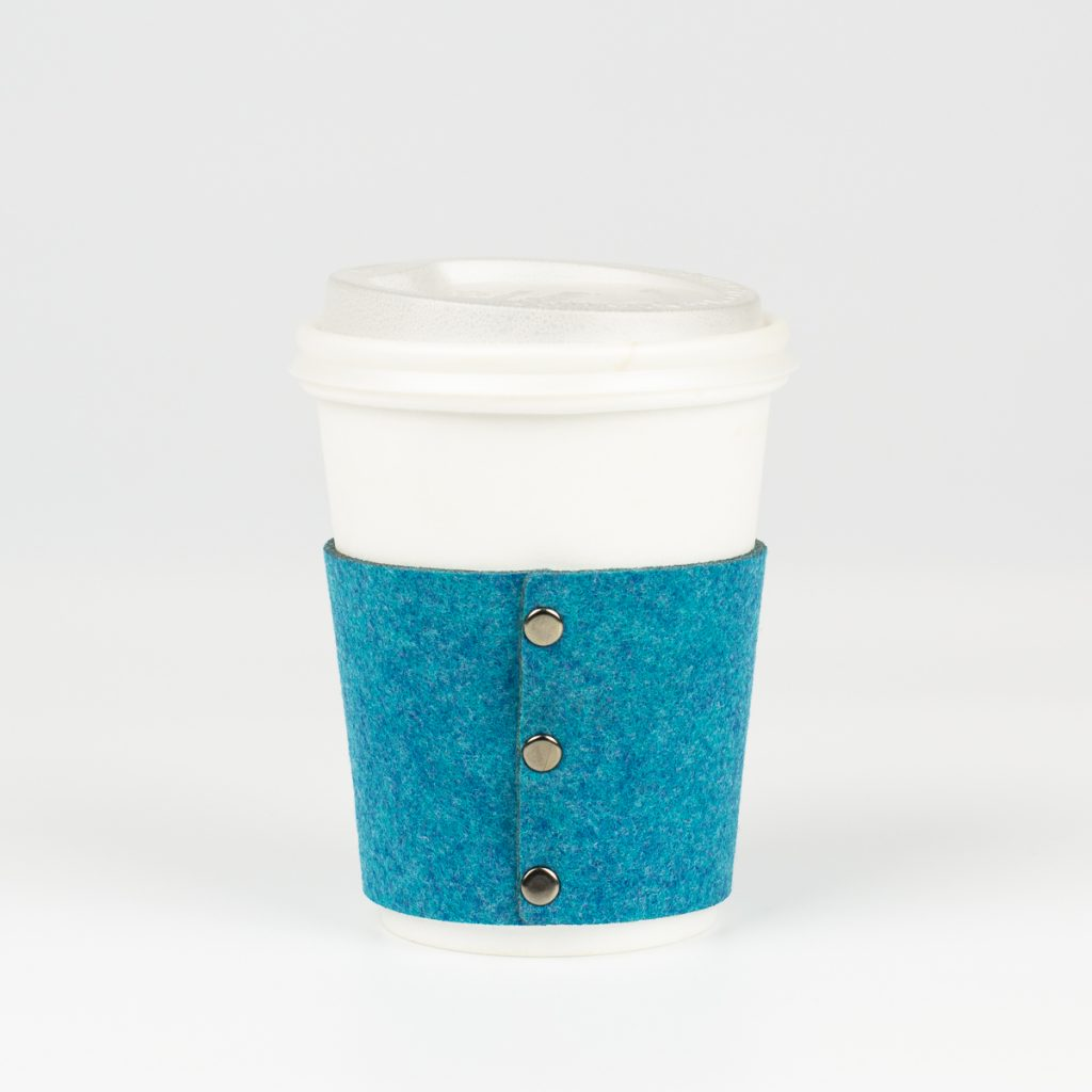 Premium Synthetic Felt 8 - Ocean Blue Coffee Sleeve