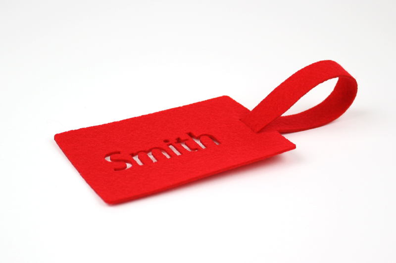 Red Synthetic Felt 4 - Luggage Tag