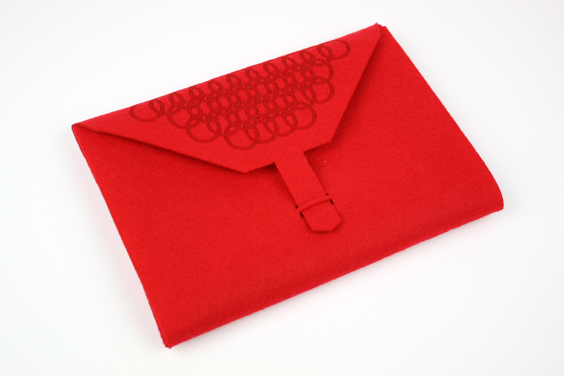 Red Synthetic Felt 9 - Pouch
