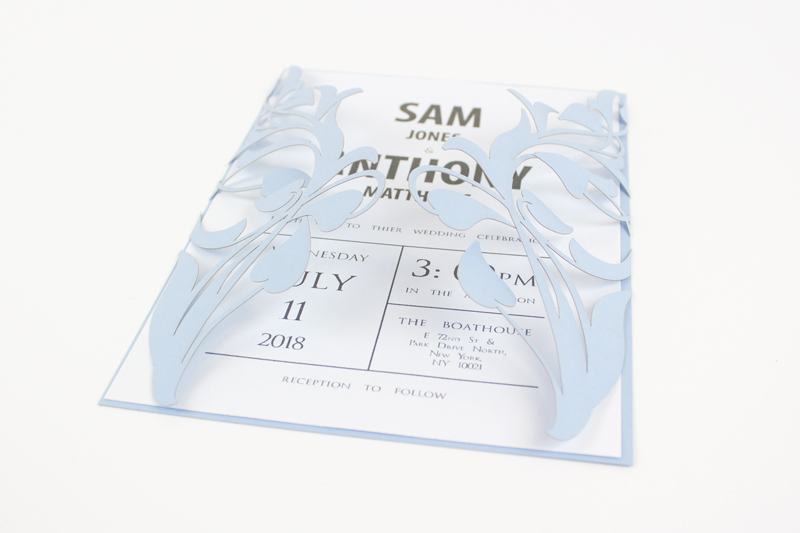 Swallow Blue Cardstock Paper 3 - Wedding Invitation