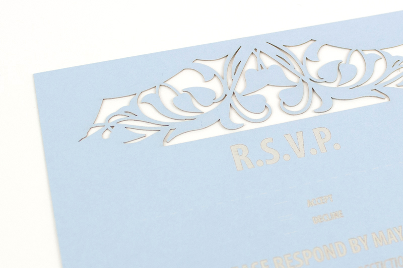 Swallow Blue Cardstock Paper 4 - Wedding RSVP Card