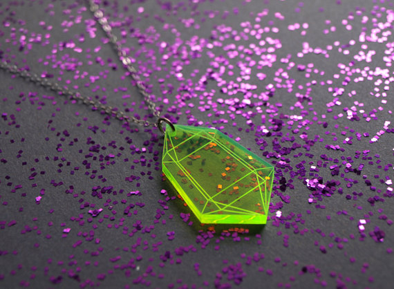 Etsy Jewelry Galactic Affair 4 - Fluorescent Green Acrylic Crystal Pendant