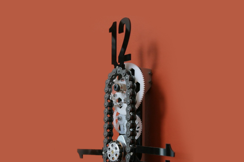 19 exposed gear bike chain clock