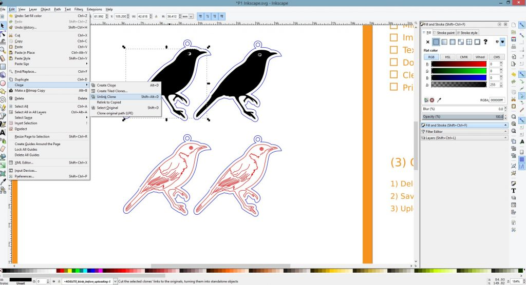 Inkscape Vector Tutorials - Unlink Clone