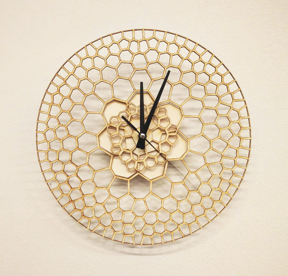 Laser Cut Products 02 - Woodlinky Honeycomb Clock