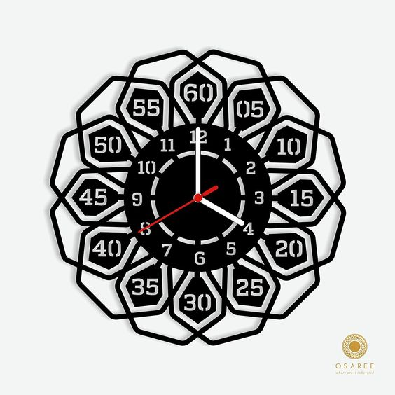 Laser Cut Products 15 - Modern Flora Clock