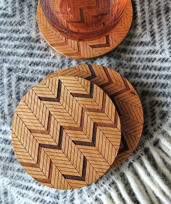 Laser Cut Products 27 - GrainDeep Herringbone Coasters