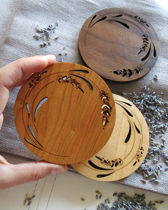 Laser Cut Products 28 - GrainDeep Lavender Coasters