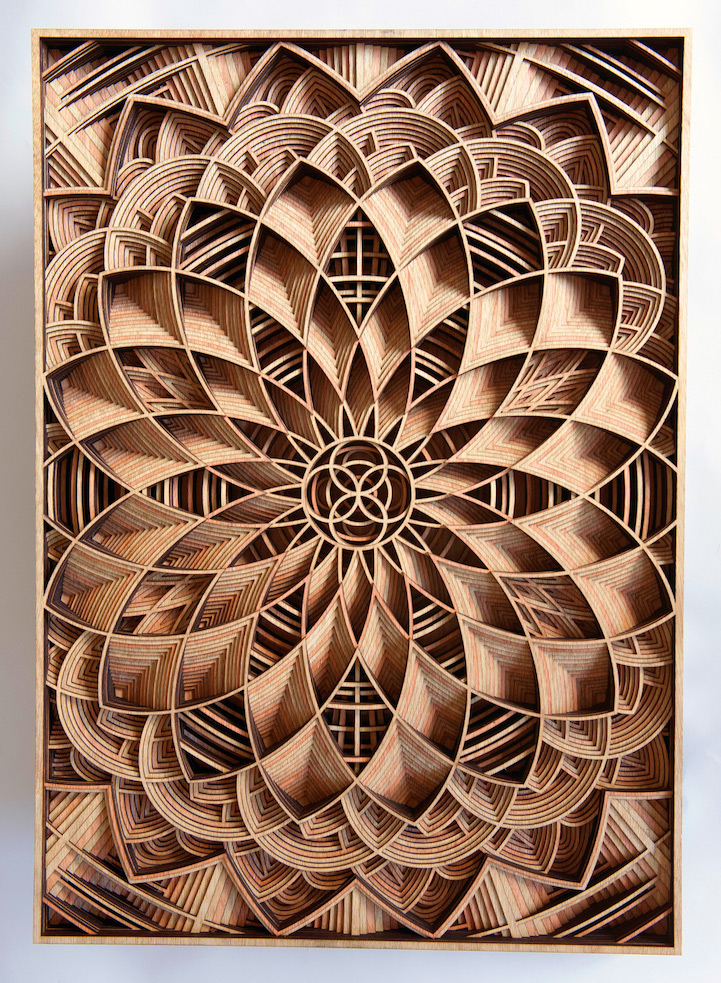 Laser Cut Products 43 - Gabriel Schama Geometric Wood Relief Art