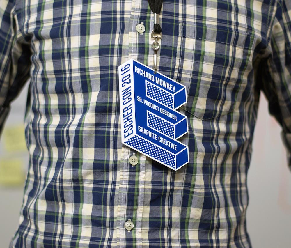 Name Badges 7 - Blue On White Acrylic Event Badge
