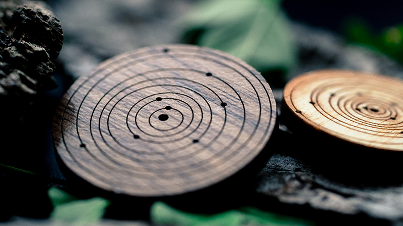 SpaceTime Coordinates Kickstarter 3 - Walnut Bamboo Wood Memento