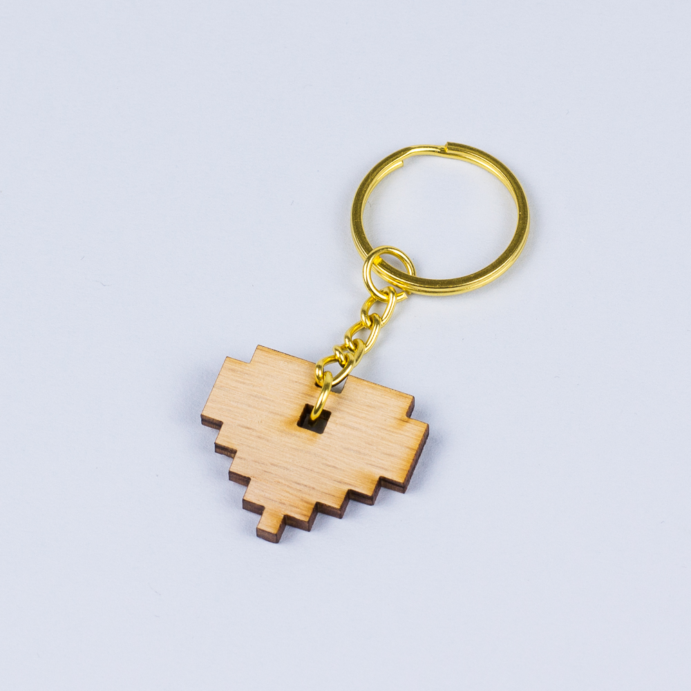 USA Hardwood 11 - Red Oak Heart Keyring
