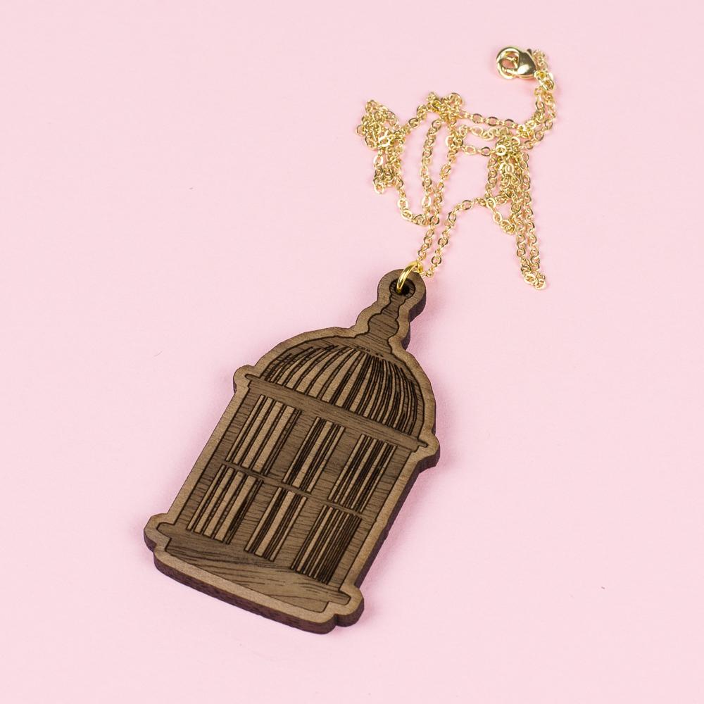 USA Hardwood 14 - Walnut Birdcage Necklace
