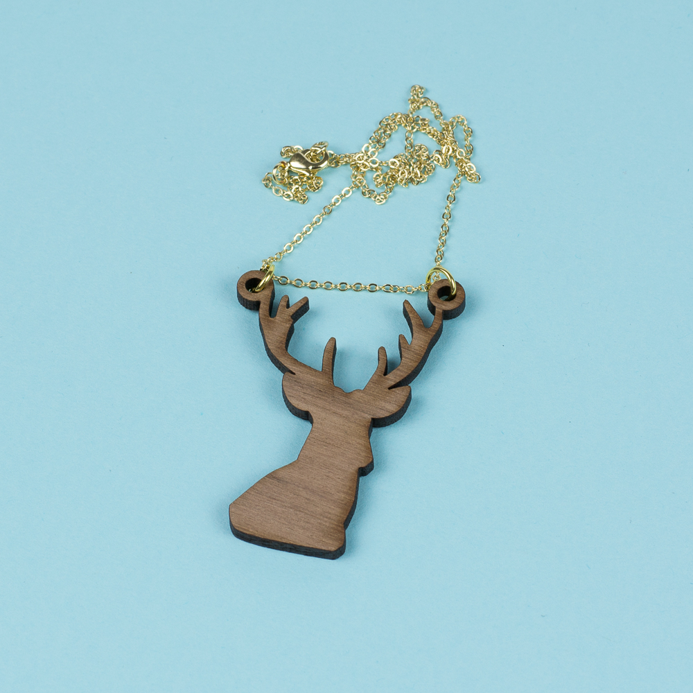 USA Hardwood 15 - Walnut Deer Necklace