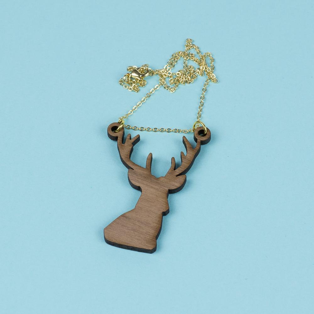 USA Hardwood 15 - Walnut Deer Necklace
