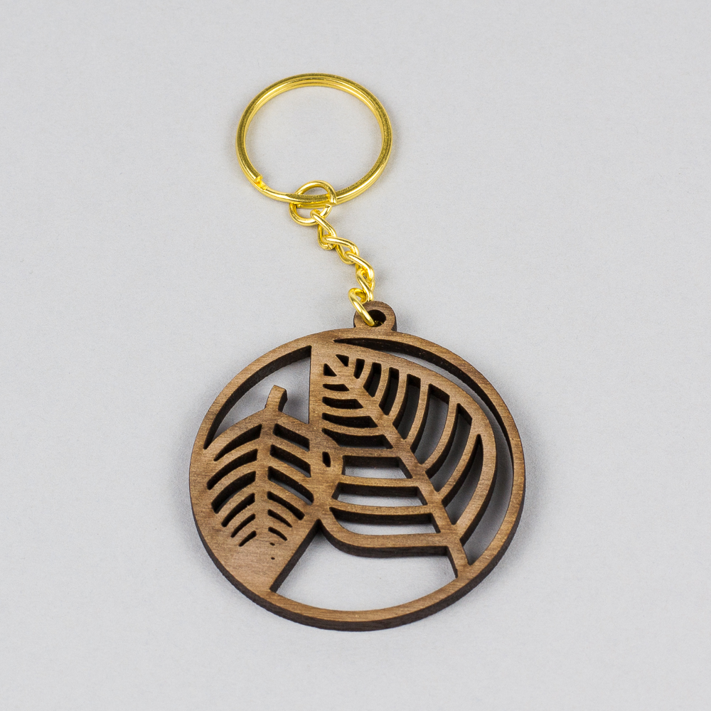 USA Hardwood 17 - Walnut Leaf Keyring