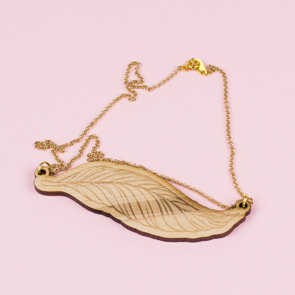 USA Hardwood 2 - Maple Feather Necklace