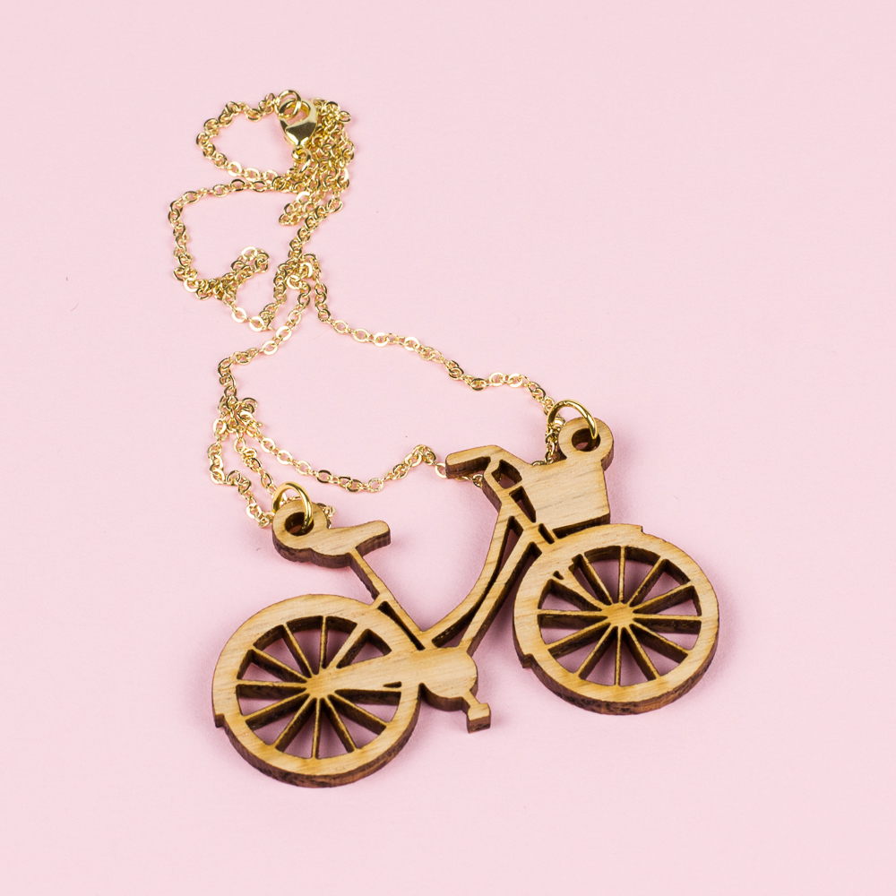 USA Hardwood 8 - Red Oak Bike Necklace