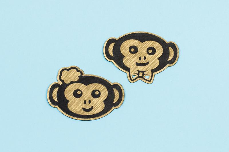 USA Acrylic Stickers 13 - Gold On Black Monkey