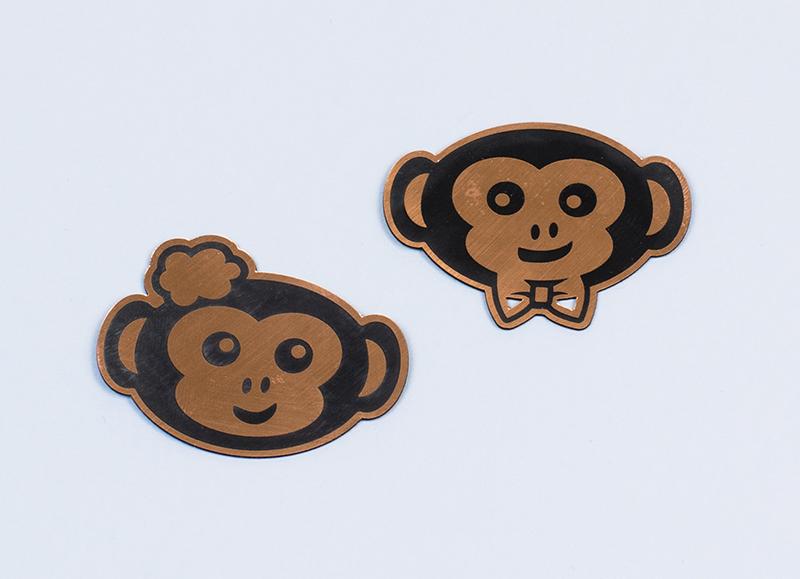 USA Acrylic Stickers 3 - Copper On Black Monkey