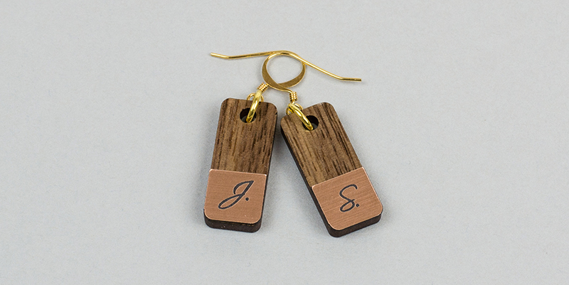 USA Acrylic Stickers 5 - Copper On Black Monogrammed Earrings