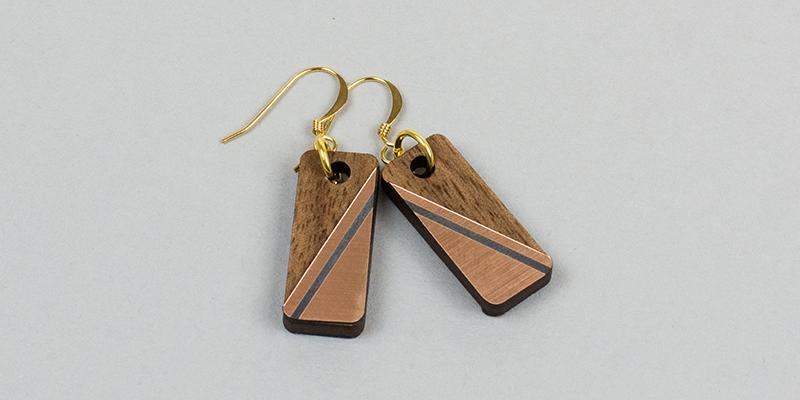 USA Acrylic Stickers 6 - Copper On Black Diagonal Earrings