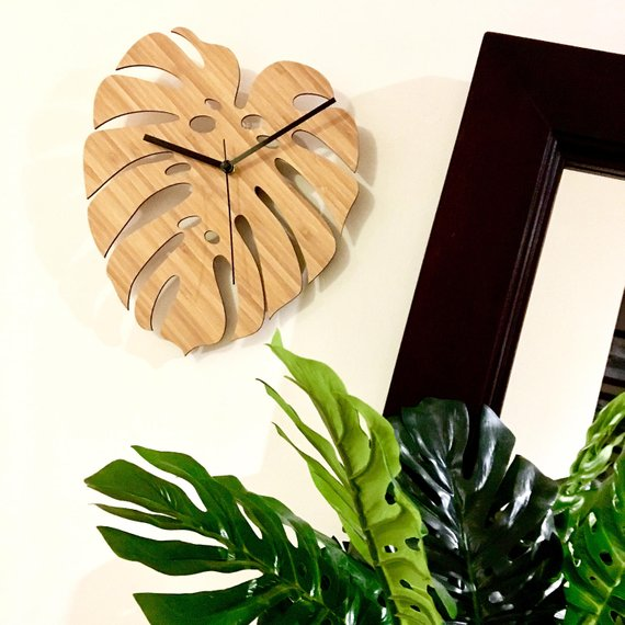 Make A Clock - Monstera Bamboo Clock