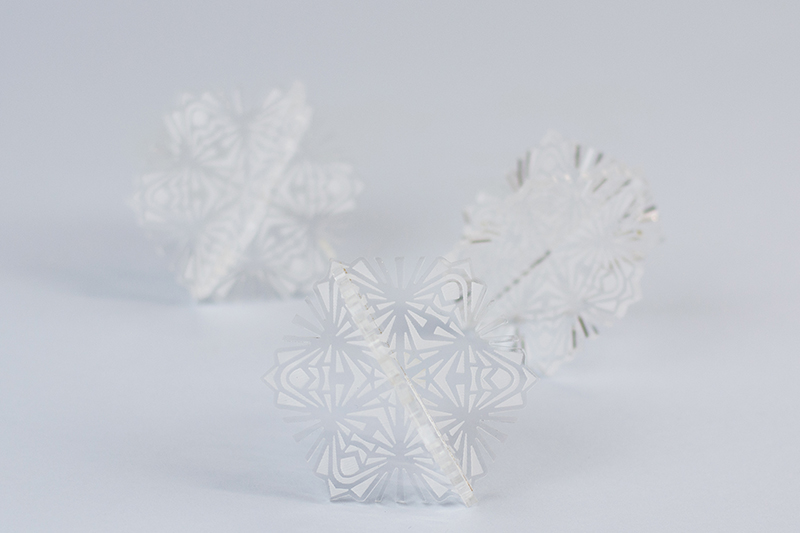 Recycled Acrylic 13 - Clear Snowflakes