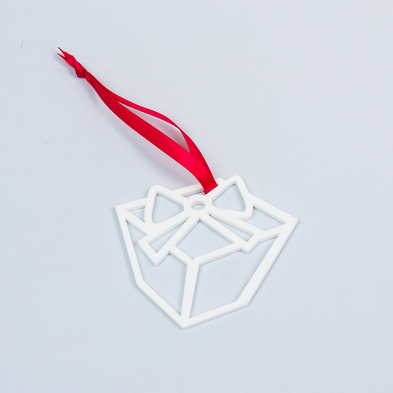 Recycled Acrylic 18 - White Christmas Ornament