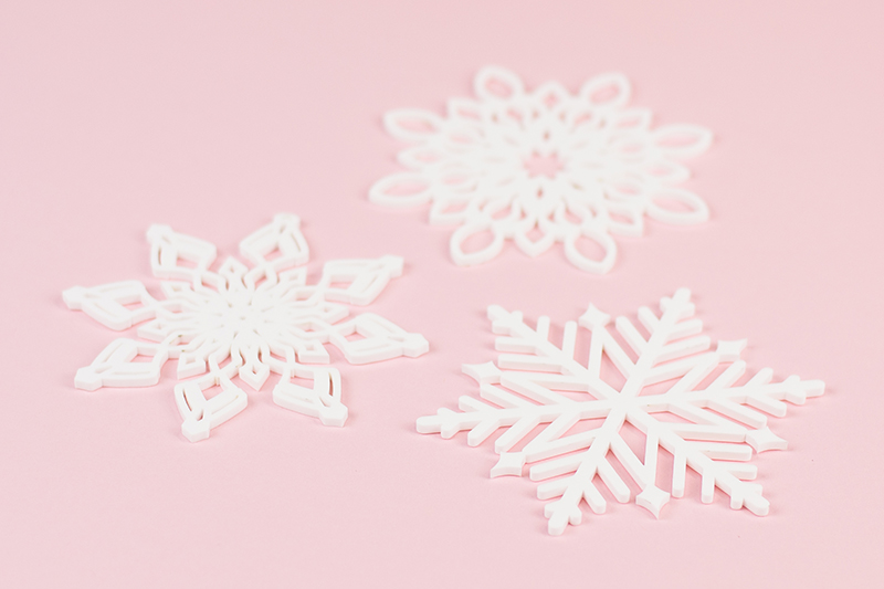 Recycled Acrylic 23 - White Snowflakes