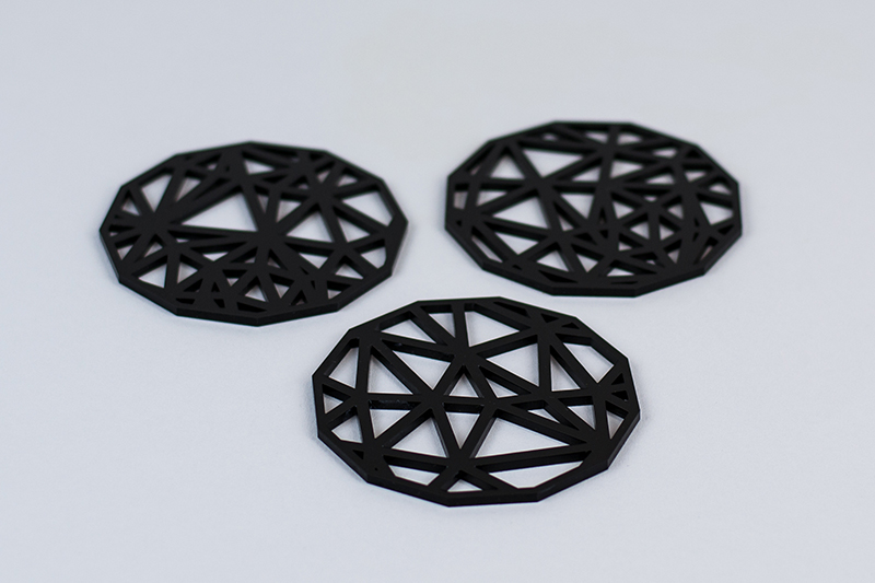 Recycled Acrylic 9 - Black Coasters