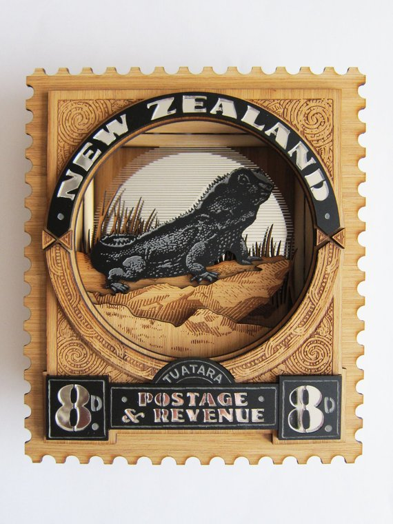 Antler And Pine 7 - NZ Postage Stamp Tuatara