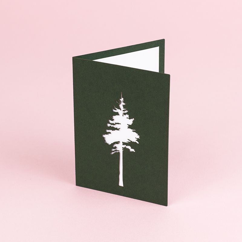USA Cardstock Paper 4 - Green Tree Greeting Card