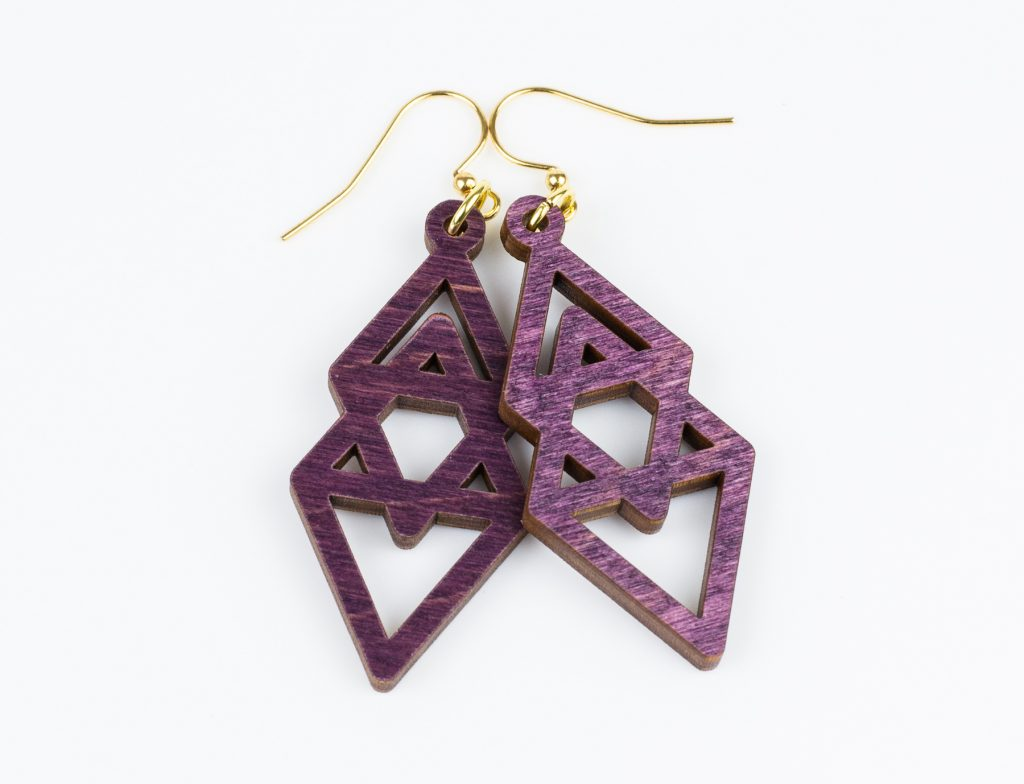 Colored Plywood 11 - Plum Earrings