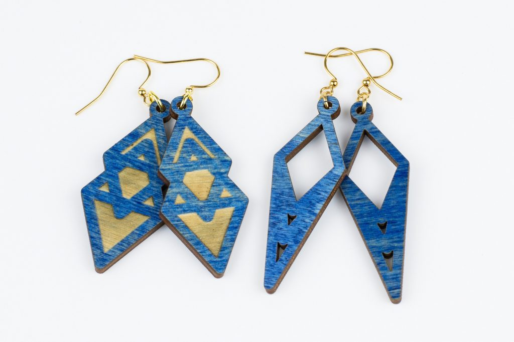 Colored Plywood 3 - Blue Earrings