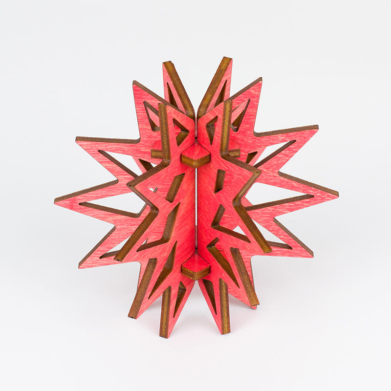 Colored Plywood 6 - Coral Pink Star