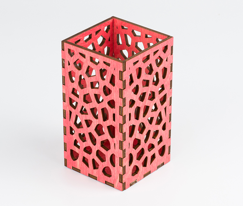 Colored Plywood 7 - Coral Pink Pencil Holder