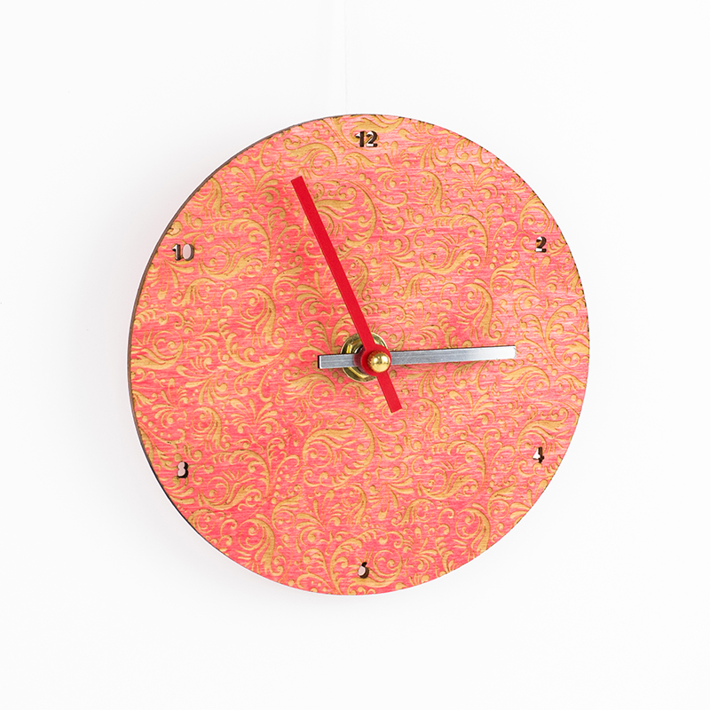 Colored Plywood 8 - Coral Pink Clock
