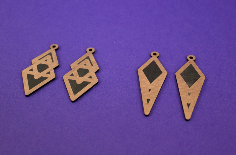 Copper On Black Acrylic 4 - Earrings