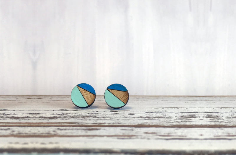 Selling Laser Cut Jewelry 4 - Lindsay Duck - Bamboo Stud Earrings