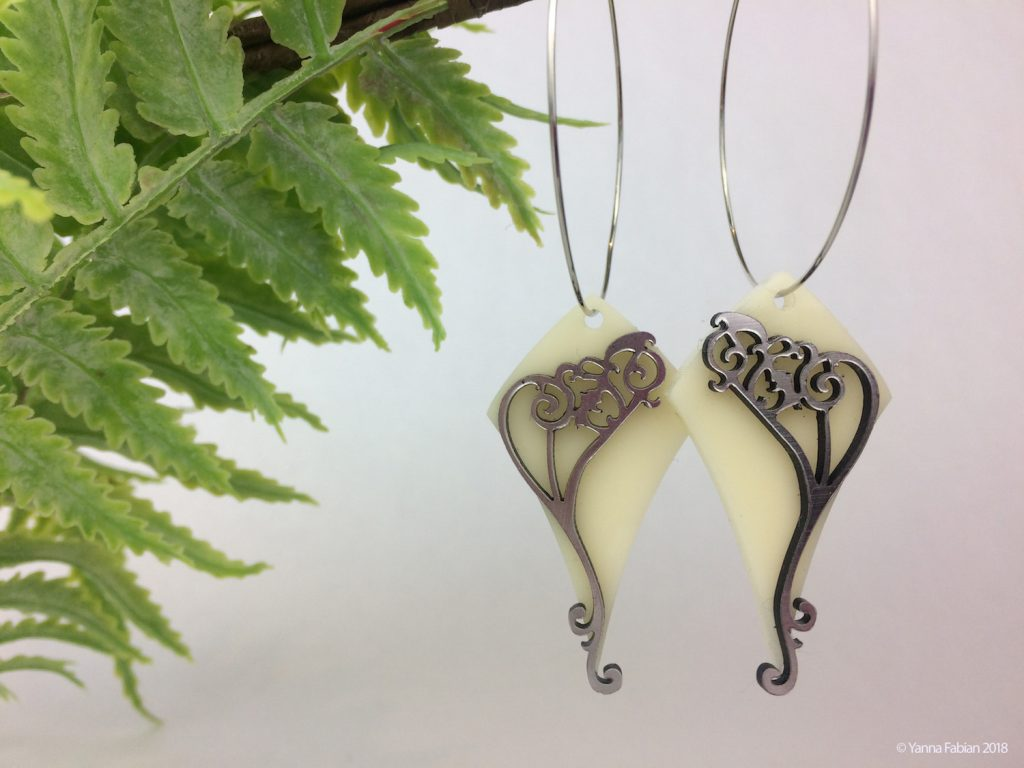 Selling Laser Cut Jewelry 7 - Yanna - Ivory Acrylic Earrings