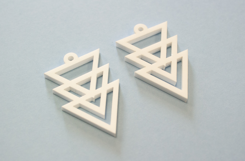 Matte White Acrylic 4 - Earrings