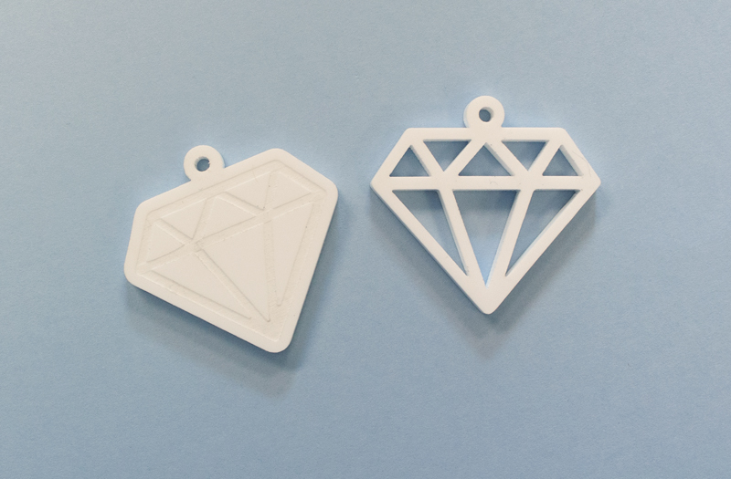 Matte White Acrylic 6 - Diamond Shaped Pendant