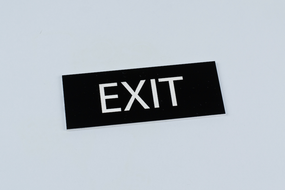 3mm Two-Color Acrylic 7 - Black On White Exit Sign