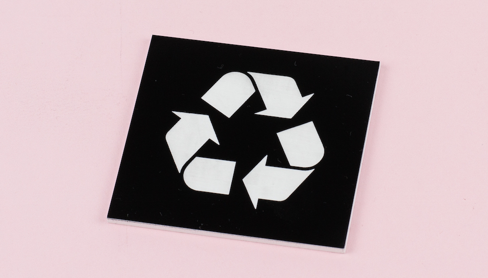 3mm Two-Color Acrylic 8 - Black On White Recycling Sign
