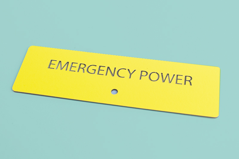 Two Color Acrylic 4 - Yellow On Black Emergency Power Sign